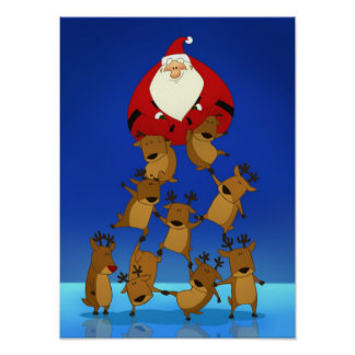 Santa & Reindeer Poster