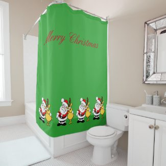 Santa Reindeer Shower Curtain
