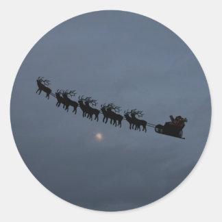 Santa & Reindeer Silhouette Classic Round Sticker