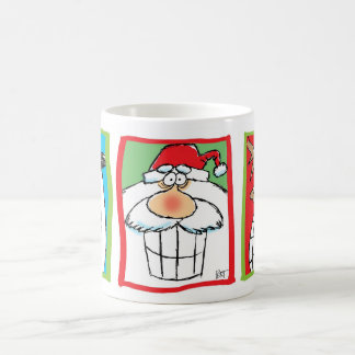 Santa, Reindeer & Snowman Christmas Cartoon Mug