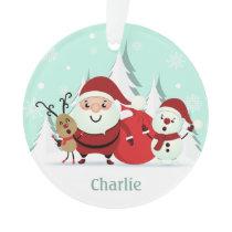 Santa, Reindeer & Snowman custom name ornament
