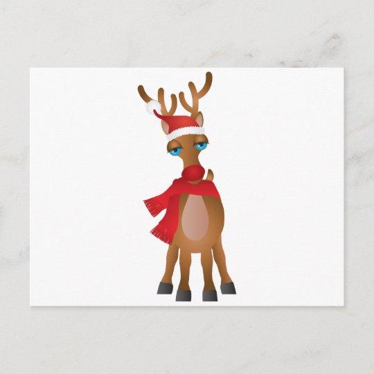 57e14bc768371 Santa Reindeer with Santa Hat Scarf Illustration Holiday Postcard ...