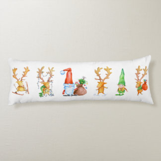 Santa, Reindeers and Gnome Body Pillow