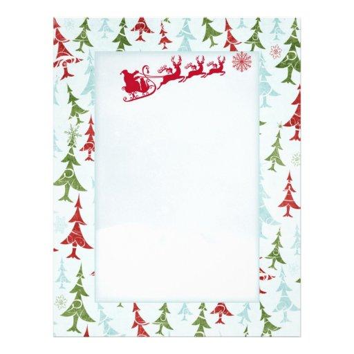 Santa reindeers xmas tree Letter Santa Letterhead | Zazzle