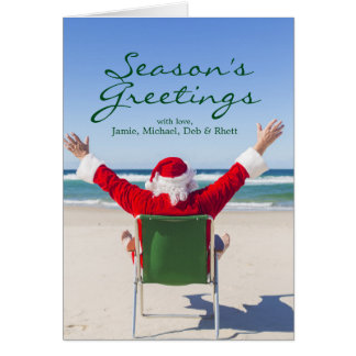 Santa relaxing on an Australian beach Card