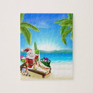 Santa Relaxing on Hot Sunny Beach Jigsaw Puzzle