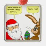 Santa resuelve el conejito de pascua - dibujo anim adornos