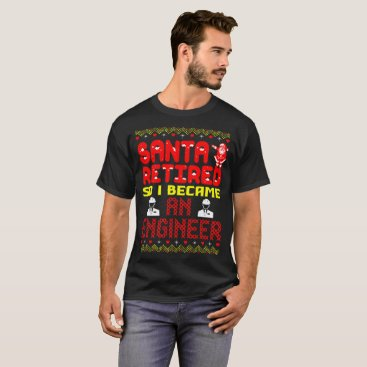 Halloween Themed Santa Retired I Became An Engineer Christmas Ugly T-Shirt