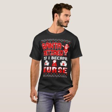 Halloween Themed Santa Retired I Became Nurse Christmas Ugly Tshirt