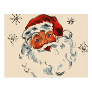 Santa retro con las estrellas postales