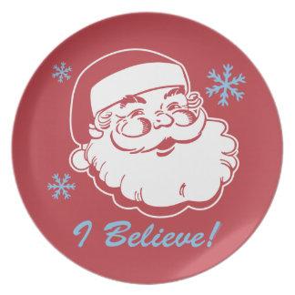 Santa retro cree la placa platos de comidas
