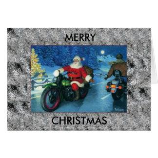 Santa rides a Harley Davidson Christmas card
