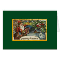 Santa Rides a Horse - Vintage Christmas Card
