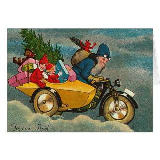 Santa Rides a Motorcycle - Christmas Greeting Card