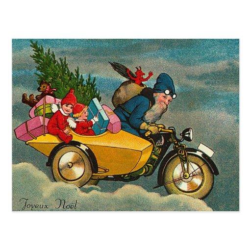 Santa Rides a Motorcycle - Christmas Post Card