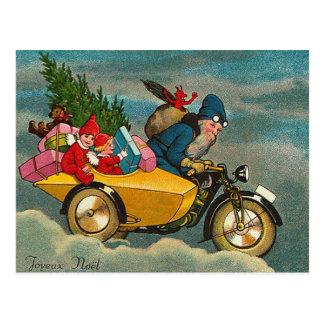 Santa Rides a Motorcycle - Christmas Postcard