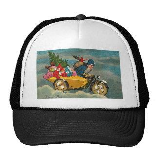 Santa Rides a Motorcycle - Christmas Trucker Hat