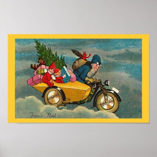 Santa Rides a Motorcycle - Poster