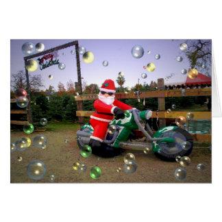 Santa Riding A Motorcycle - Merry Christmas Card
