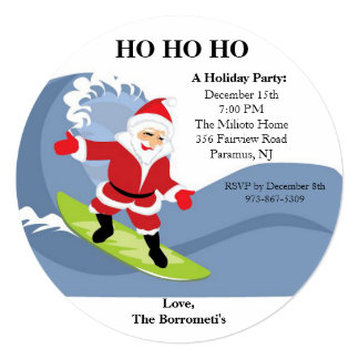 "Santa Riding A Wave Christmas Invitation 5.25"" Square Invitation Card"