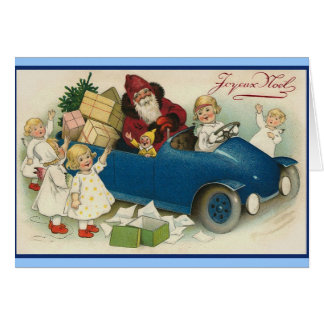 Santa Riding in a Car - Joyeaux Noel Card
