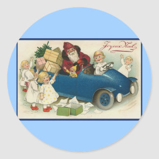 Santa Riding in a Car - Joyeaux Noel Classic Round Sticker