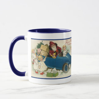 Santa Riding in a Car - Joyeaux Noel Mug