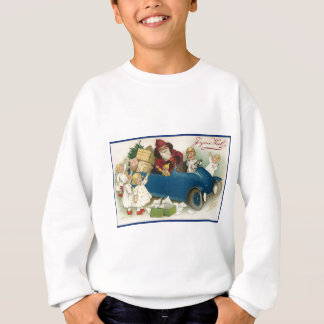 Santa Riding in a Car - Joyeaux Noel Sweatshirt