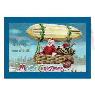 Santa Riding in Blimp Vintage Xmas Card