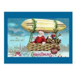 Santa Riding in Blimp Vintage Xmas Post Card