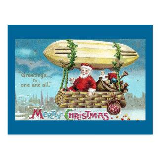 Santa Riding in Blimp Vintage Xmas Postcard