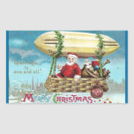 Santa Riding in Blimp Vintage Xmas Rectangular Sticker