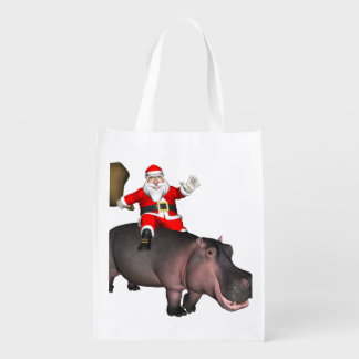 Santa Riding On Hippo Grocery Bag