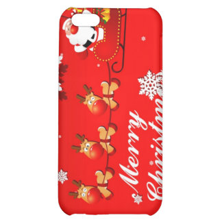 Santa riding on Sleigh with Reindeer iPhone 5C Covers