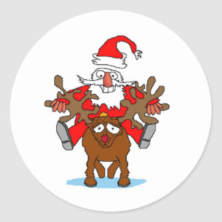 Santa Riding Rudohlf Round Stickers