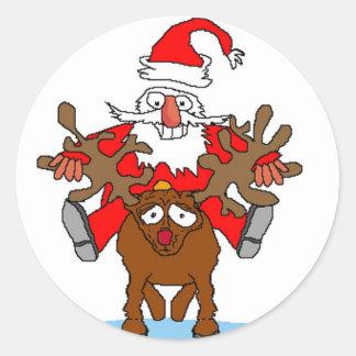 Santa Riding Rudohlf Sticker