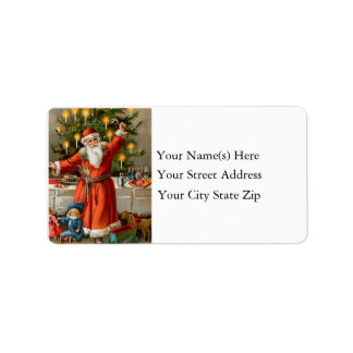 Santa Ringing Bells Vintage Address Label