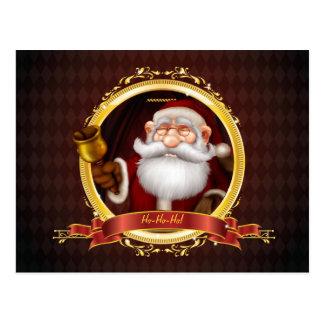 Santa Ringing Gold Bell Postcard