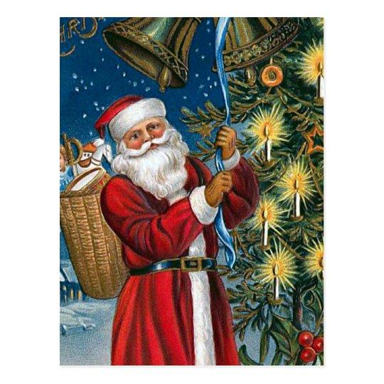 """""""Santa Rings the Bells"""" Vintage Postcard"""