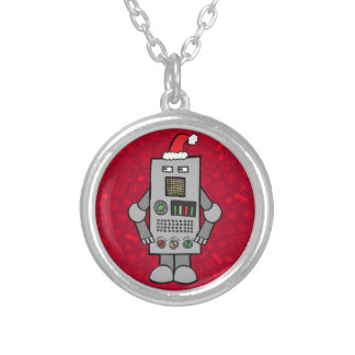 Santa Robot Silver Plated Necklace