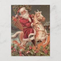 santa rocking horse vintage holiday postcard