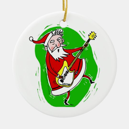 Christmas Decorations Santa Clarita Ca: Santa Rocks! Ceramic Ornament