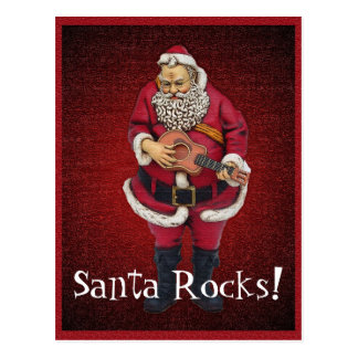 Santa Rocks Christmas Postcard