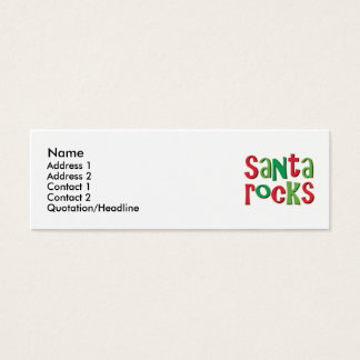 Santa Rocks Red and Green Christmas Mini Business Card
