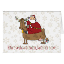 Santa Rode a Cow Funny Christmas Card
