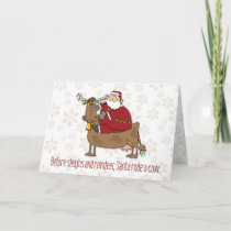 Santa Rode a Cow Funny Christmas Holiday Card