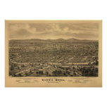 Santa Rosa California 1876 Antique Panoramic Map Posters