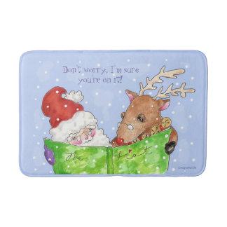 Santa, Rudolf y la alfombra de baño de la lista