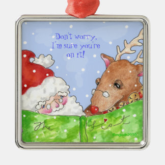 santa, rudolph and the list! metal ornament
