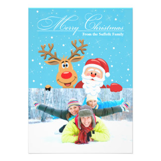 Santa & Rudolph Christmas Flat Card